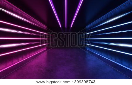 Futuristic Sci-fi Modern Room With Stripes Blue And Purple Glowing Neon Lines. 3d Rendering