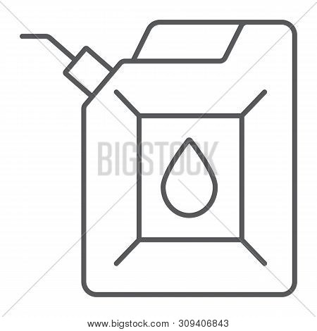 Jerrycan Thin Line Icon, Canister And Container, Fuel Tank Sign, Vector Graphics, A Linear Pattern O