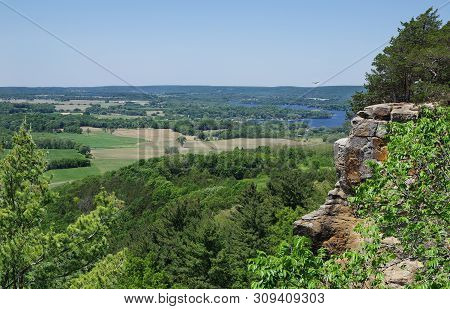 Wisconsin Scenic Overlook:  A Sweeping View Opens At The Top Of A Hiking Trail In Southern Wisconsin