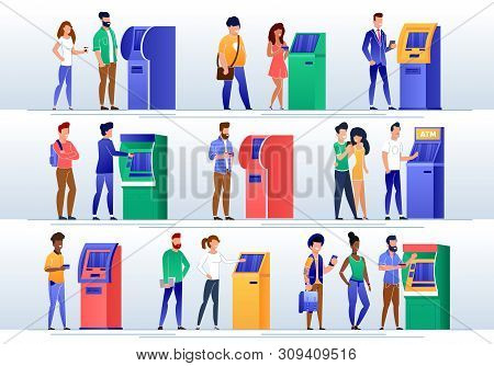 People Getting Cash, Making Payment With Atm Machine Flat Vector Set. Bank Multinational, Female, Ma