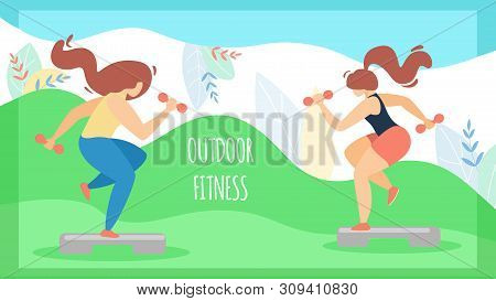 Flyer Sport For Women Inscription Outdoor Fitness. Poster Energetic Girls Are Engaged In Active Fitn