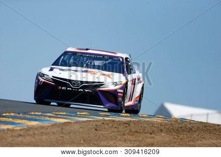June 21, 2019 - Sonoma, California , USA: Denny Hamlin (11) practices for the TOYOTA/SAVE MART 350 at Sonoma Raceway in Sonoma, California .