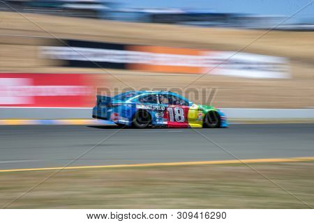 June 21, 2019 - Sonoma, California , USA: Kyle Busch (18) takes to the track to practice for the TOYOTA/SAVE MART 350 at Sonoma Raceway in Sonoma, California .