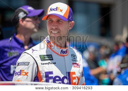 June 22, 2019 - Sonoma, California , USA: Denny Hamlin (11) gets ready to qualify for the TOYOTA/SAVE MART 350 at Sonoma Raceway in Sonoma, California .