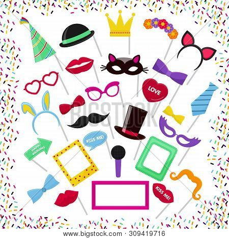 Photo Booth Vector Mask Glasses Costume Hat On Birthday Party Wedding Photobooth Set Collection Must
