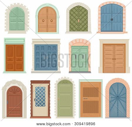 Doors Vector Vintage Doorway Front Entrance Lift Entry Or Elevator Indoor House Interior Illustratio