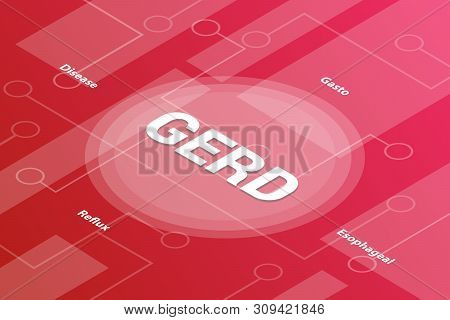 gerd concept words isometric 3d word text concept with some related text and dot connected - vector illustration poster