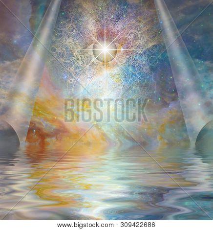 Spiritual art. All seeing eye behind the veil of sky. 3D rendering