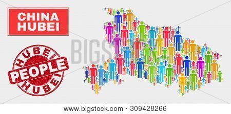 Demographic Hubei Province Map Abstraction. People Colorful Mosaic Hubei Province Map Of Humans, And