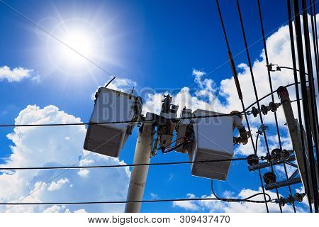 Technician Engineer Using Aerial Platform Lift Truck To Service Or Repair High Voltage Power Cable I