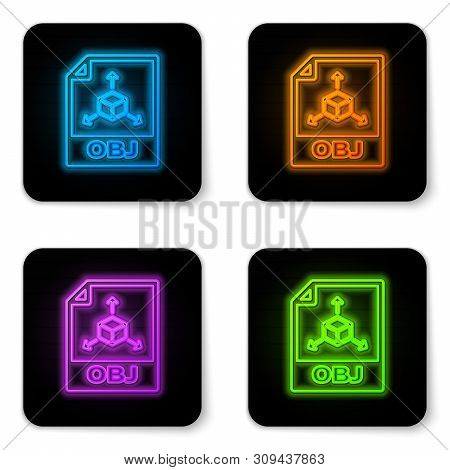 Glowing Neon Obj File Document Icon. Download Obj Button Icon Isolated On White Background. Obj File