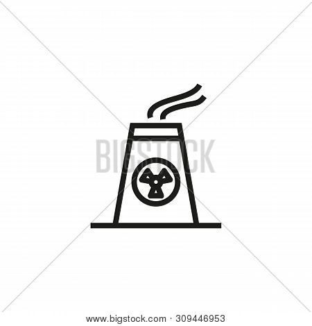 Atomic Power Plant Line Icon. Nuclear Station, Atomic Reactor, Environmental Disaster. Factory Conce