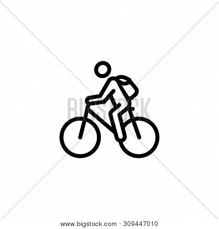 Cyclist Line Icon. Bicycle, Cycle Line, Bicycle Parking. Solo Travel Concept.vector Illustration Can