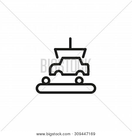 Factory Production Line Icon. Car Industry, Car Assembly Line, Machinery Production. Factory Concept