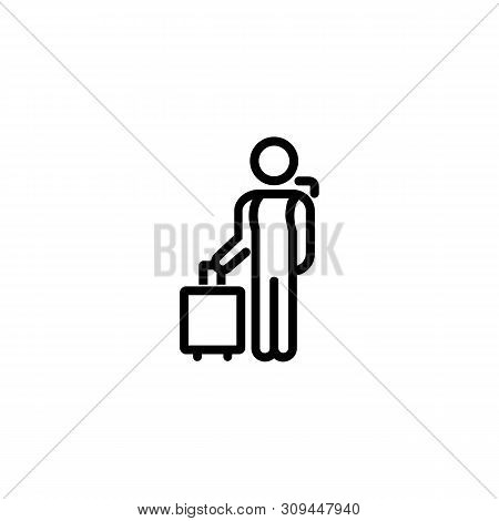 Traveller Line Icon. Arrival, Airport, Hotel. Solo Travel Concept. Vector Illustration Can Be Used F
