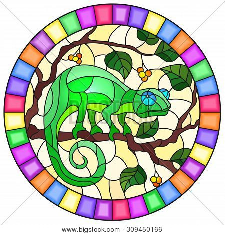 Illustration In Stained Glass Style With Bright Gree  Chameleon On Plant Branches Background With Le