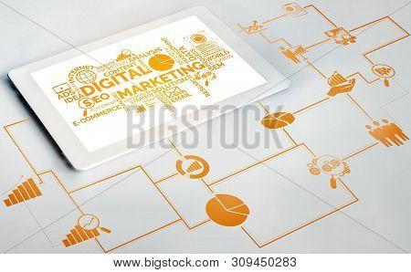 Marketing Of Digital Technology Business Concept.