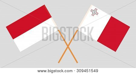 Indonesia And Malta. The Indonesian And Maltese Flags. Official Colors. Correct Proportion. Vector I