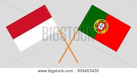 Indonesia And Portugal. The Indonesian And Portuguese Flags. Official Colors. Correct Proportion. Ve