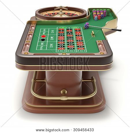 Back View Of Roulette Table With Chips, Rack And Roulette Wheel - 3d Illustration