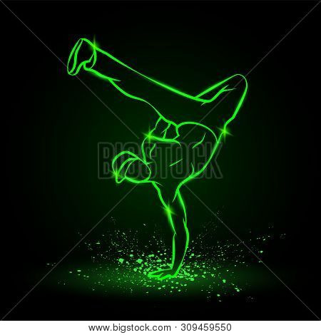 One Hand Frieze By B Boy. Break Dancer Dancing And Making A Frieze By One Hand. Vector Green Neon Il