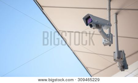 Surveillance Camera In The City, Surveillance And Video Surveillance, Outdoor. Modern Security Camer