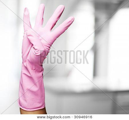 pink gloves of maid gesturing number four indoor