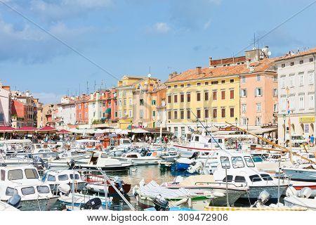 Rovinj, Croatia, Europe - September 2, 2017 - Numerous Motorboats At The Harbour Of Rovinj