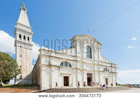 Rovinj, Croatia, Europe - September 2, 2017 - Tourists At The Church Of Saint Euphemia