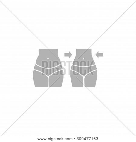 Female Body, Fat And Slim, Weight Loss Concept Silhouette. Woman Body, Tummy And Thighs, Fit And Fat