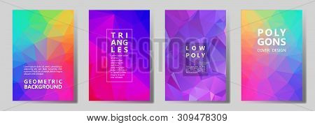 Facet Polygonal Mosaic Cover Page Layouts Vector Graphic Design Set. Diamond Texture Low Poly Patter