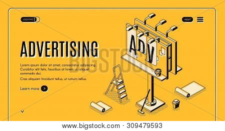 Advertising agency isometric web banner. Ladder, bucket with glue and partially glued banner on street billboard line art illustration. Outdoor advertising, promo campaign landing page template poster