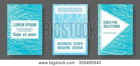 Annual Report Covers Design Set. Blue Sea Water Waves Texture Backdrops. Vector Templates For Corpor