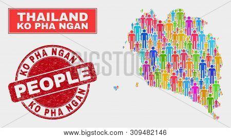 Demographic Ko Pha Ngan Map Illustration. People Colorful Mosaic Ko Pha Ngan Map Of Humans, And Red