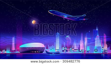 Night Charter From City Airport Cartoon Vector. Airliner Taking Off From Runway, Standing On Ground
