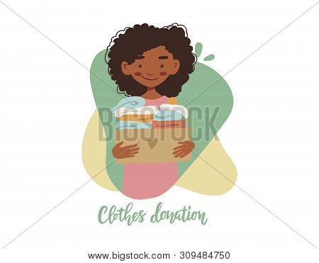 Modern Flat Vector Illustration. African American Woman Or Volunteer Holding Cardboard Box With Clot