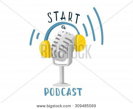 Isolated Vector Cartoon Illustration. Podcast Concept. Broadcasting Characters Template. Microphone