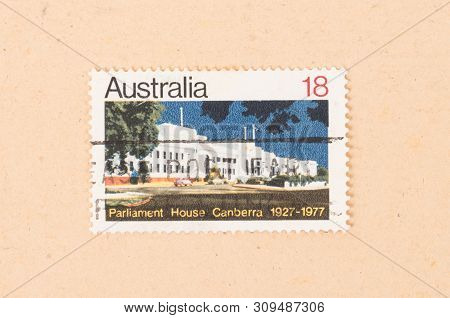 Australia - Circa 1977: A Stamp Printed In Australia Shows Parliament House Canberra, Circa 1977