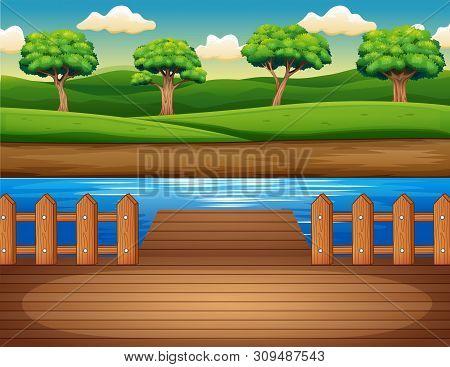Cartoon A Wooden Pier Overlooking The Forest