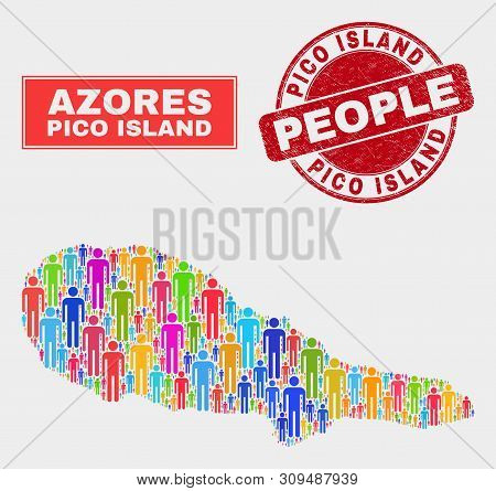 Demographic Pico Island Map Illustration. People Bright Mosaic Pico Island Map Of Men, And Red Round