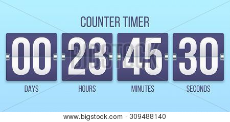 Flip Clock Timer. Countdown Counter Days, Counting Hours And Minutes Numbers. Flipclock Date Timers,
