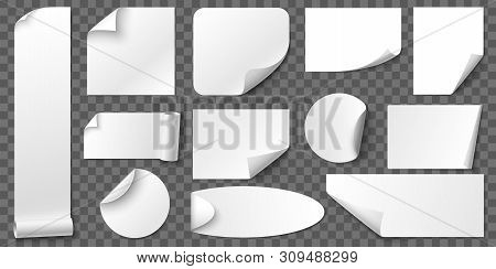 Curled Corners Paper Stickers. Adhesive Sticker, Blank Tag Labels And Label With Realistic Shadow. C