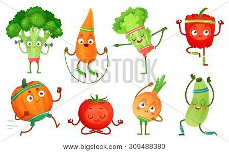 Cartoon Vegetables Fitness. Vegetable Characters Workout, Healthy Yoga Exercises Food And Sport Vege