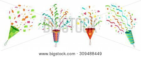 Party Confetti Popper. Exploding Birthday Celebration Confetti Poppers And Flying Congratulations Ri