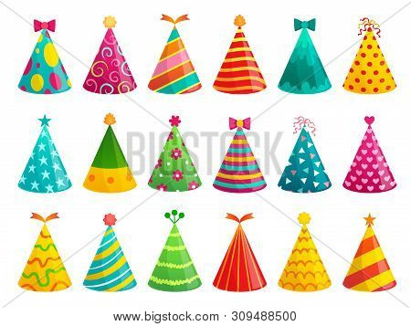 Cartoon Birthday Party Caps. Funny Celebration Cap, Holiday Cone And Colorful Paper Hat. Party Hat,