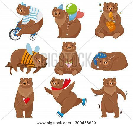 Cartoon Bears. Happy Bear, Grizzly Eats Honey And Brown Bear Character In Funny Poses. Wildlife Or C