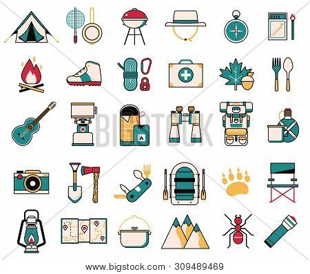 Camping And Hiking Wanderlust Line Art Icons