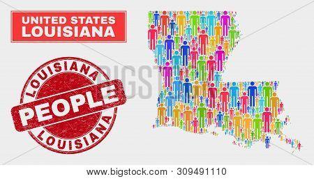 Demographic Louisiana State Map Illustration. People Bright Mosaic Louisiana State Map Of Persons, A