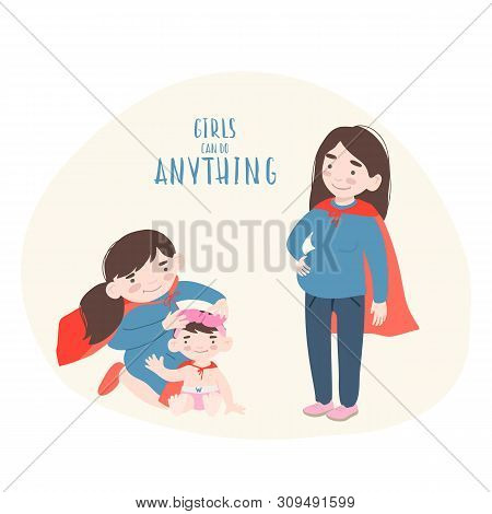 Superhero Mother And Daughters In Superheroes Costume. Superpowers Woman. Cartoon Style Vector Femin
