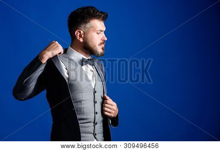 businessman with beard in tie. mature illusionist. Bride groom ready for wedding. esthete. stylish art director. business in modern life. bearded man in formal tuxedo suit. Perfection in every detail poster